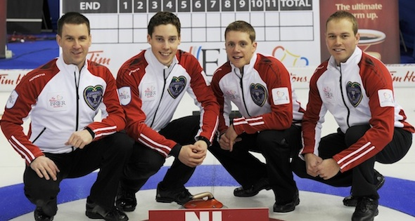 Brad Gushue, Brett Gallant, Adam Casey and  (Photo Michael Burns)
