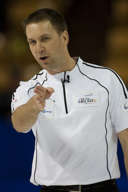 Skip Brad Gushue considers shot options during Sunday night's Road to the Roar game. (Photo, CCA/Michael Burns)