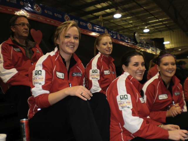 At the 2011 Provincial Scotties in Altona, Man., Team Carey, who were 7-0 in the round robin at this point, watches other teams warm up before the first playoff games. (Photo courtesy Dan Carey)