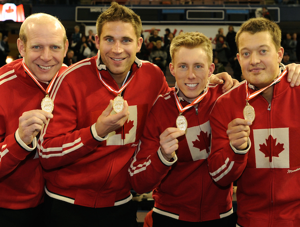 All four members of the 2009 Tim Hortons Roar of the Rings champs, from left, Kevin Martin, John Morris, Marc Kennedy and Ben Hebert, will be in Winnipeg for the 2013 Roar. (Photo, CCA/Michael Burns)