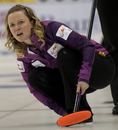 Winnipeg's Chelsea Carey was eliminated from the Tim Hortons Roar of the Rings after faling to Sherry Middaugh in the tiebreaker. (Photo, CCA/Michael Burns)