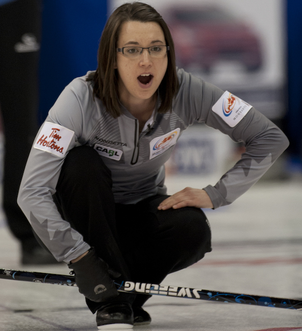 Edmonton's Val Sweeting improved to 3-0 with a win over Jennifer Jones on Monday night. (Photo, CCA/Michael Burns)