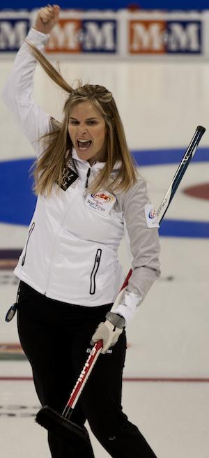 Winnipeg's Jennifer Jones celebrates her victory on Wednesday morning. (Photo, CCA/Michael Burns)