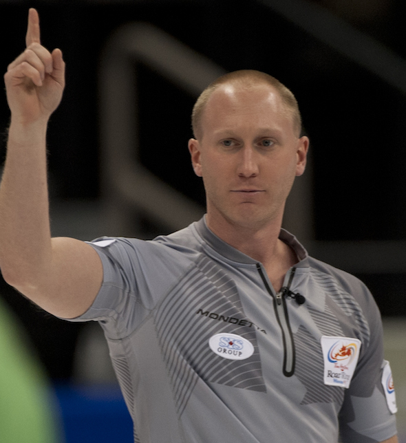 Brad Jacobs is a win away from a berth in Sunday's final at the Tim Hortons Roar of the Rings. (Photo, CCA/Michael Burns)