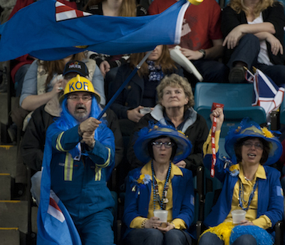 Team Alberta fans show their colours during Monday night's win over Manitoba.