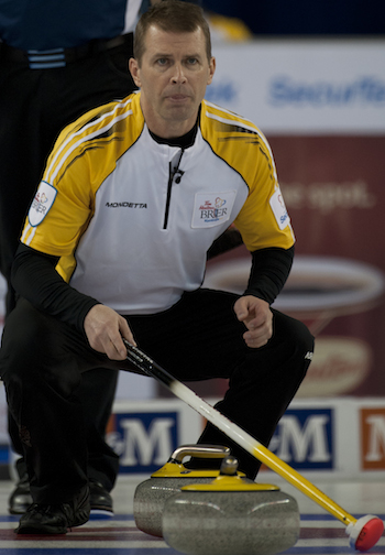 Manitoba skip Jeff Stoughton assesses the situation during Tuesday's game against Nova Scotia.