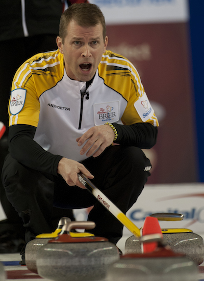 Kamloops B.C.Mar6_2014.Tim Hortons Brier.Northern Ontario.Manitoba skip Jeff Stoughton.CCA/michael burns photo