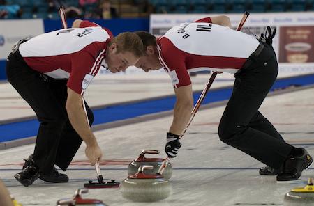 Newfoundland/Labrador sweepers Geoff Walker, left, and Brett Gallant.