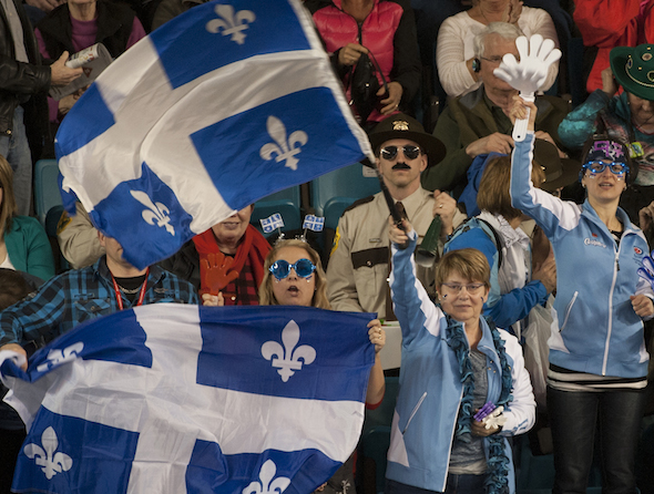 Quebec's supporters were thrilled with the result of Saturday's Page playoff 3-4 game at the Tim Hortons Brier. (Photo, CCA/Michael Burns)