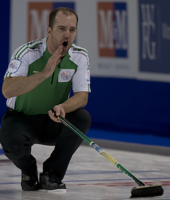 Saskatchewan Steve Laycock instructs his sweepers during action Saturday night.