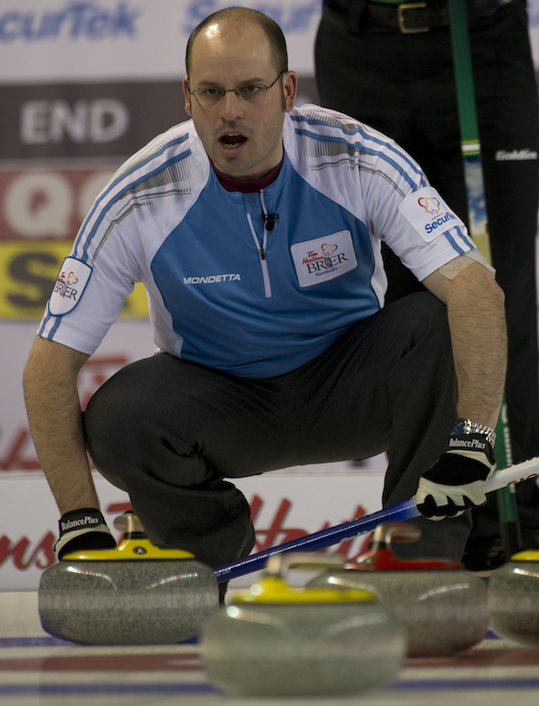 Quebec skip Jean-Michel Ménard calls out instructions to sweepers during win over Saskatchewan on Sunday morning. (Photos, CCA/Michael Burns)