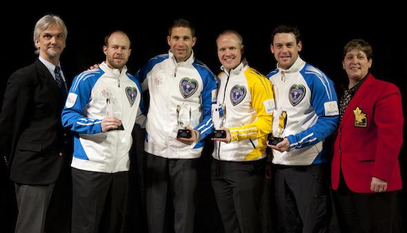 From left, Paul Wiecek (Canadian Curling Reporters president), Jim Cotter, John Morris, Mark Nichols, Rick Sawatsky, Marilyn Neily (CCA governor). (Photo, CCA/Michael Burns)