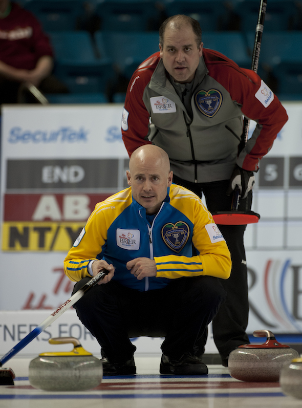 The Koe brothers, Kevin, bottom, and Jamie, went head to head at the Tim Hortons Brier on Monday. (Photos, CCA/Michael Burns)