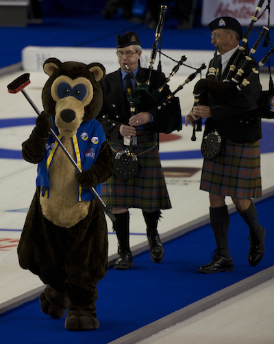 It's not a Tim Hortons Brier without Brier Bear and the bagpipers!
