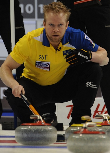 Sweden's Niklas Edin won his first world championship last April in Victoria. Now, he'd like to add a Continental Cup championship to his resume. (Photo, CCA/Michael Burns)