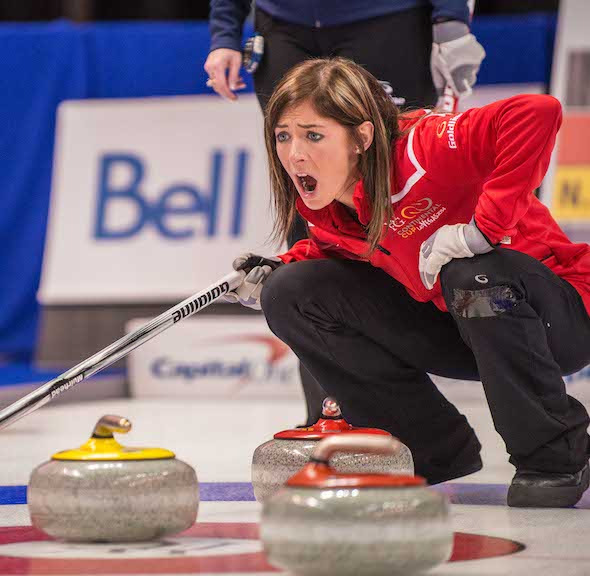 Team World skip Eve Muirhead shouts instructions to her sweepers during win over Team North America's Jennifer Jones. (Photo, CCA/Chris Holloman, Katipo Creative