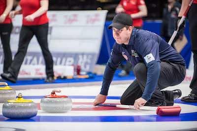 Team North America skip John Shuster checks out a shot. (Photo, CCA/Chris Holloman, Katipo Creative)