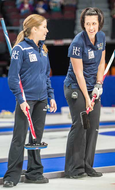 Team North America's Kaitlyn Lawes and Jill Officer share a laugh on Friday morning. (Photo, CCA/Chris Holloman, Katipo Creative)