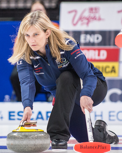 Team North America's Erika Brown delivers her rock during Friday night's game against Team World's Eve Muirhead. (Photo, CCA/Chris Holloman, Katipo Creative)
