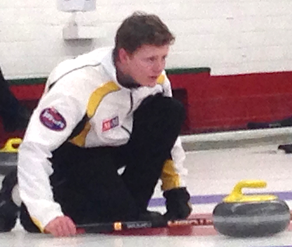 Manitoba skip Braden Calvert and his team from Winnipeg are headed to the men's final at the 2014 M&M Meat Shops Canadian Juniors in Liverpool, N.S. (Photo, CCA)