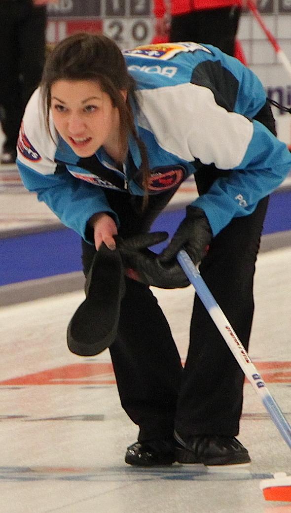 Quebec skip Camille Boisvert watches her shot during her tiebreaker win over the Yukon on Tuesday night. (Photo, CCA)
