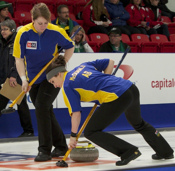Alberta's Kelly Brown, left, and Taylor McDonald sweep a rock at the 2014 M&M Meat Shops Canadian Juniors. (Photo, CCA)