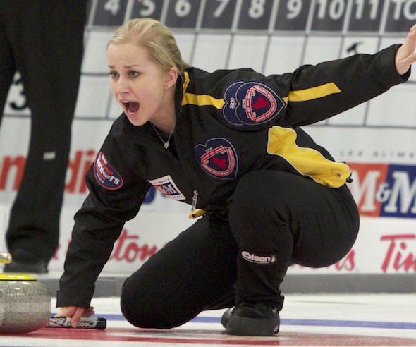 New Brunswick skip Jessica Daigle calls line during action at the 2014 M&M Meat Shops Canadian Juniors. (Photo, CCA)