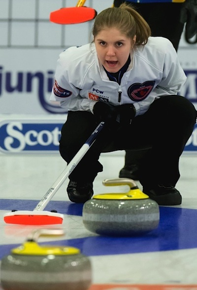 B.C. skip Kalia Van Osch calls instructions to sweepers during the women's final. (Photo, CCA/Michael Burns Photography/Mark O'Neill)