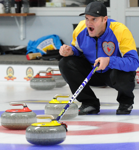 Darren Moulding's Alberta team won its fourth straight game on Monday at the Canadian Mixed.  (Photo, CCA/Claudette Bockstael, Studio C Photography)