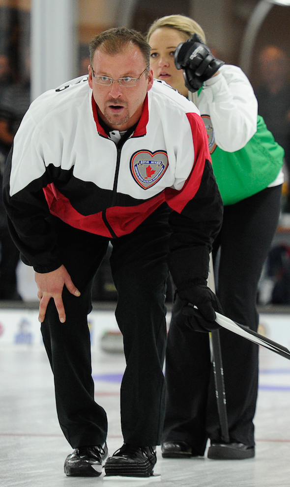 Ontario skip Cory Heggestad will try to win back-to-back Canadian Mixed titles on Saturday. (Photo, CCA/Claudette Bockstael, Studio C Photography)