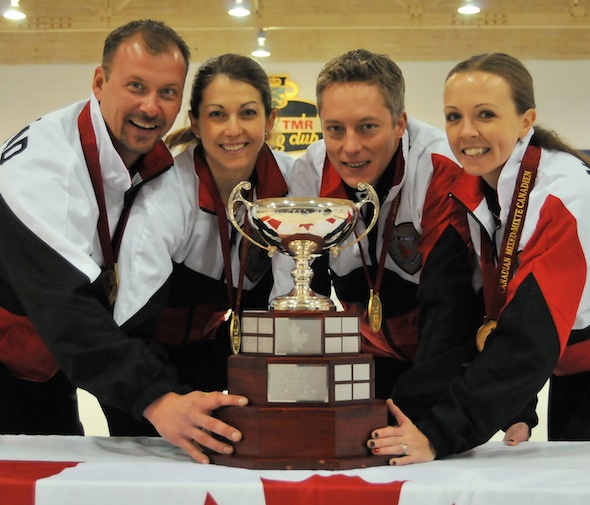 Cory Heggestad's Ontario team, from left, Heggestad, third Heather Graham, second Greg Balsdon and lead Amy Balsdon, will try to defend their Canadian Mixed title in Ottawa. (Photo, CCA)