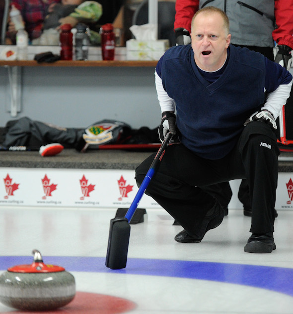 Nova Scotia skip Rob Harris calls instructions to sweepers on Sunday morning at the Canadian Mixed Curling Championship. (Photo, CCA/Claudette Bockstael, Studio C Photography)