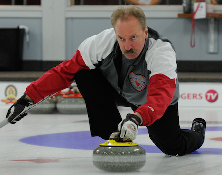 Northwest Territories skip Steve Moss collected his first win at the 2014 Canadian Mixed on Wednesday. (Photo, CCA/Claudette Bockstael, Studio C Photography)