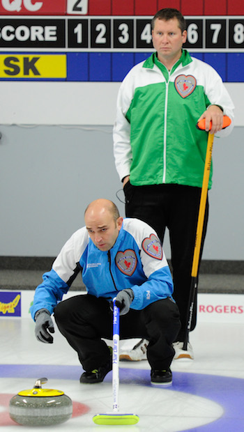 Quebec skip Mike Fournier, left, and Saskatchewan skip Shaun  Meachem. (Photo, CCA/Claudette Bockstael, Studio C Photography)