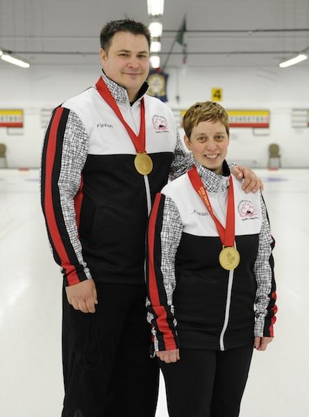 Wayne and Kim Tuck, gold medallists at the 2014 Canadian Mixed Doubles Curling Trials (Photo John Schwartzburg)
