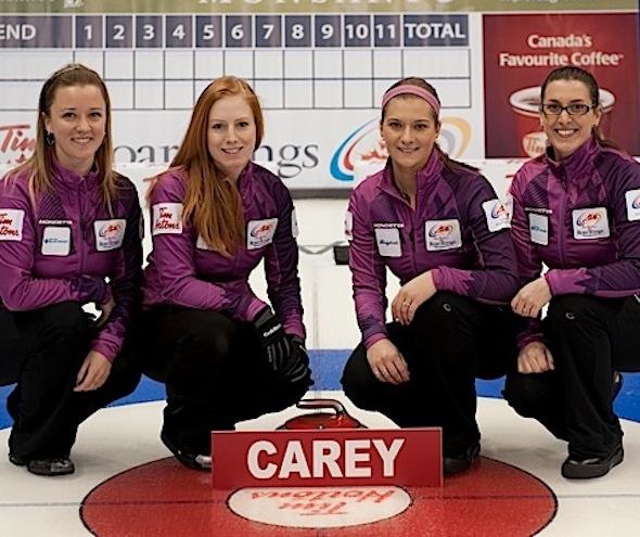 Team Manitoba, from left, Chelsea Carey, Kristy McDonald, Kristen Foster and Lindsay Titheridge. (Photo, CCA/Michael Burns)