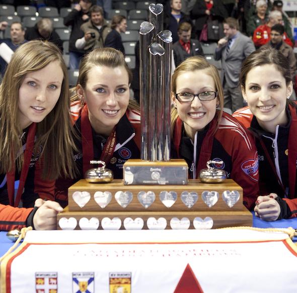 Team Ontario wins the Scotties. Rachel Homan, Emma Miskew, Alison Kreviazuk, Lisa Weagle, fifth Stephanie LeDrew coach Earl Morris. The 2013 Scotties Tournament of Hearts, February 16-24, Kingston Onatrio, The Canadian Womans Curling Championship.
