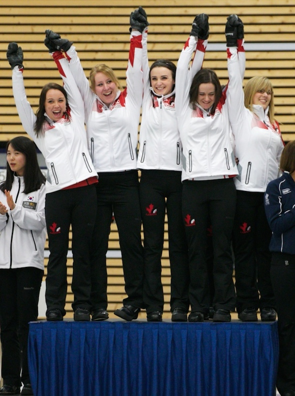 Fresh off winning the World Junior Women's Championship, Kelsey Rocque's University of Alberta team, from left, Rocque, thirdKeely Brown, second Taylor McDonald, lead Claire Tully and alternate Alison Kotylak will take aim at the CIS-CCA Canadian University Championship this weekend in Regina. (Photo, World Curling Federation/Richard Gray)