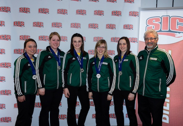 2014 CIS/CCA University Curling Championship silver medallists from the University of Alberta: Skip: Kelsey Rocque, Third: Keely Brown, Second: Taylor McDonald Lead: Claire Tully, Alternate: Alison Kotylak, Coach: Garry Coderre (Photo CIS University Championships)