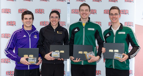 First Team All-Stars: skip Aaron Squires of Wilfrid Laurier University, third Jim Coleman of University of Manitoba, second Brad Thiessen of University of  Alberta, lead Landon  Bucholz of University of Alberta (Photo CIS University Championships)