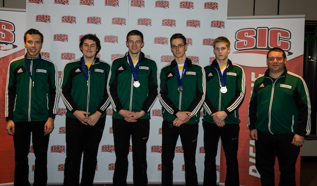 2014 CIS/CCA University Curling Championships silver medallists from the University of Alberta:  Skip: Brendan Bottcher, Third: Evan Asmussen Second: Brad Thiessen, Lead: Landon Bucholz, Alternate: Thomas Scoffin, Coach: Rob Krepps (Photo Andrew Burant)