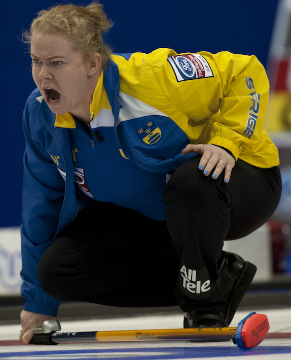 Sweden's Margaretha Sigfridsson enjoyed a 2-0 opening day at the Ford World Women's Curling Championship. (Photo, CCA/Michael Burns)