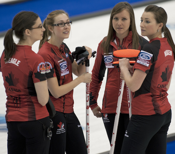 Team Canada, from left, Lisa Weagle, Alison Kreviazuk, Rachel Homan and Emma Miskew take a break during their win over the Czech Republic on Sunday. (Photo, CCA/Michael Burns)