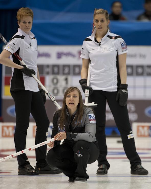 Team Canada skip Rachel Homan guides her sweepers as Switzerland's Franziska Kaufmann and Christine Urech look on. (Photo, CCA/Michael Burns)