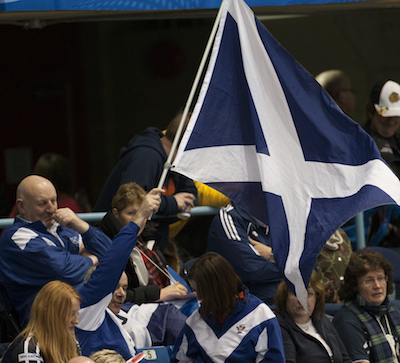 Scottish fans cheer on their team during Sunday night's game at Harbour Station. (Photo, CCA/Michael Burns)