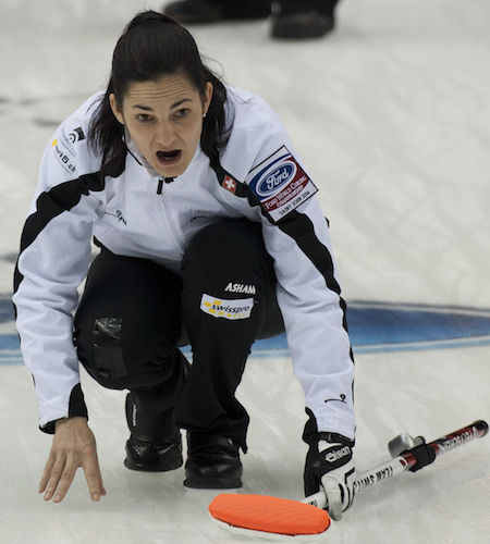 Swiss skip Binia Feltscher shouts instructions to her sweepers during the semifinal. (Photo, CCA/Michael Burns)