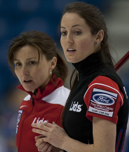 Allison Pottinger of Team U.S.A., left, and teammate Tabitha Peterson are still alive for a playoff berth. (Photo, CCA/Michael Burns)
