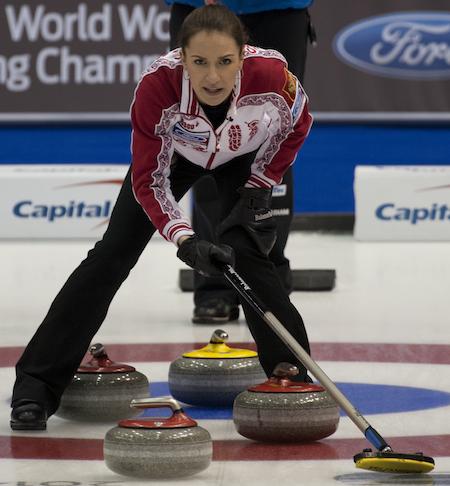 Russian skip Anna Sidorova checks out the situation on Monday. (Photo, CCA/Michael Burns)