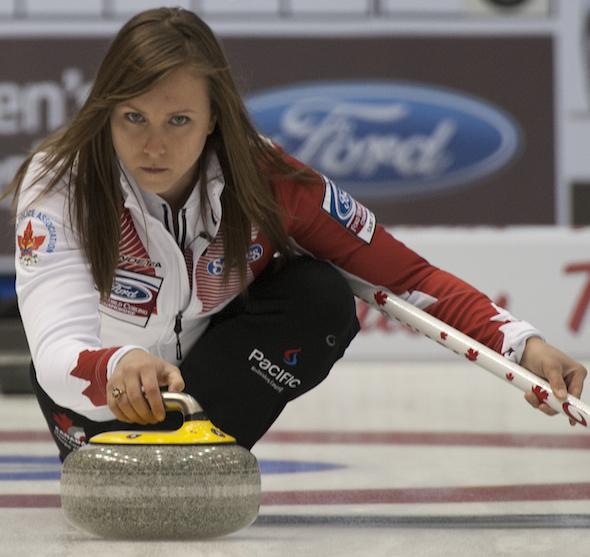 Team Canada skip Rachel Homan throws her rock during Monday's win over the U.S. (Photo, CCA/Michael Burns)