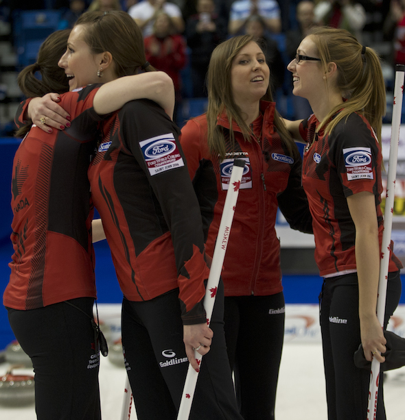 Team Canada celebrates its Page playoff 1-2 win over Switzerland on Saturday. (Photo, CCA/Michael Burns)